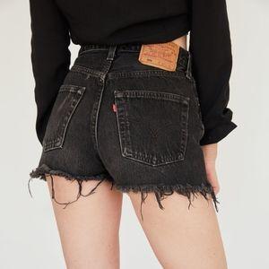 Levi's | 501 Cut Off Denim Shorts Rivets Black